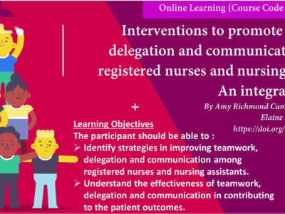 Interventions to promote teamwork, delegation, and communication among registered nurses and nursing assistants: an integrative review